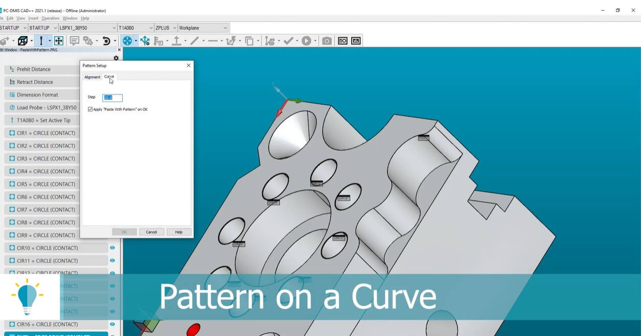 pc dmis pattern on a curve